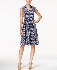Charter Club Sleeveless Boat-Print Shirtdress, Only at Macy's - Dresses - Women - Macy's