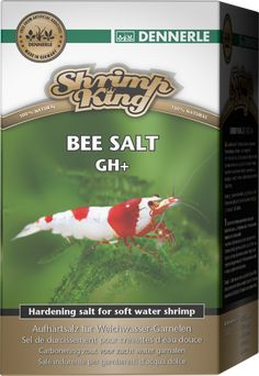 ShrimpKing Bee Salt GH+ - For targeted hardening of osmosis water, rain water and purified water. Developed especially for keeping and breeding shrimps from soft-water biotopes such as bee and bumble bee shrimps and their varieties. With all the essential minerals, trace elements and vitamins shrimps need for healthy, balanced growth, vibrant colours and plentiful reproduction.