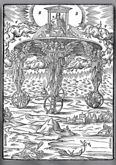 A detailed medieval woodcut depiction of the Four Cherub angels pulling God's divine chariot Ancient Aliens, Ancient History, Ufo, Seraphin, Esoteric Art, Prophetic Art, Biblical Art, Angels And Demons, Bible Art