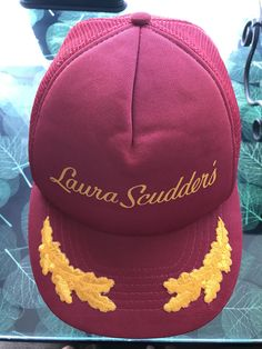 Excited to share the latest addition to my shop  vintage baseball hat cap  Laura Scudders. Red with Gold Embroidery. Laura Scudders was a famous maker  of ... efe26e8d7863