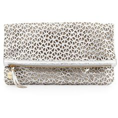 Clare V. Laser-Cut Leather Fold-Over Clutch, Silver/Natural (61.825 HUF) found on Polyvore