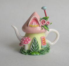 Miniature PRETTY FAIRY WHIMSY HOUSE TEAPOT by ArtisticSpirit