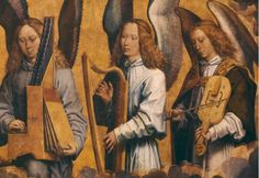MEMLINC Hans: Flemish school (1435-1494)Christ surrounded by music making angels (detail right side) ANGELS MUSICIANS -