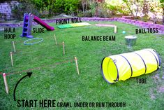 Cheap Outdoor Games For Kids Obstacle Course Ideas Kids Obstacle Course, Backyard Obstacle Course, Ninjago Party, Nerf Party, Superhero Party Games, Summer Activities, Toddler Activities, Outdoor Games For Toddlers, Field Day Activities