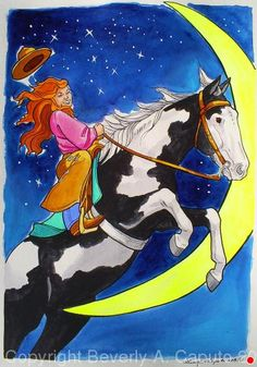 "Shes Over The Moon! #3 by Beverly Caputo Watercolor ~ 15"" x 11"""