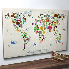 Adorable map of the world with animals, love not on the high street dot com, could buy everything off there!