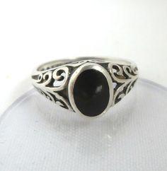 Black Onyx Sterling Silver Ring Art Deco by LeesVintageJewels