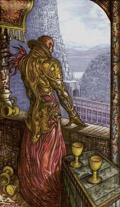 5 de coupes - Universal Fantasy Tarot par Paolo Martinello
