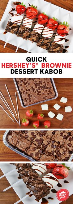 HERSHEY'S® Brownie Dessert Kabobs are the perfect fall and holiday treat. Whether you're making for the family or for a party, you can put these together in less than 10 minutes. All you need is a HERSHEY'S® Brownie from Pizza Hut, marshmallows, strawberries and chocolate drizzle.