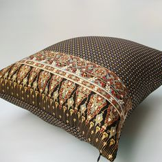 2 of Black and Gold Pillow Cover Thai Painting sofa Throw decorative pillow cushion covers 18 inches. $21.99, via Etsy.