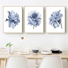 Watercolor Painting Farmhouse Bedroom Wall Decor Boho Dahlia Flower Canvas Art Posters and Prints Navy Blue Wall Art Pictures - Farm House İdeas Navy Blue Wall Art, Navy Blue Walls, Blue Grey, Flower Canvas Art, Kunst Poster, Wall Art Pictures, Painting Pictures, Bedroom Wall Pictures, Kitchen Wall Art
