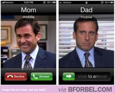 When Mom calls VS when Dad calls. Steve Carrell is PERFECT.