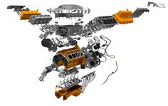 2015 Dodge Challenger SRT Hellcat Supercharged 6.2-liter V-8 Engine. Exploded View #1.