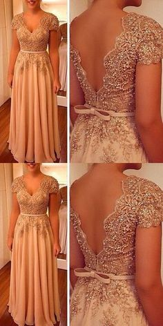 Charming Prom Dress, A Line Party Dress V Neck Evening Dress, Beaded Women Formal Dress Appliques P on Luulla Dresses Elegant, Formal Dresses For Women, Beautiful Dresses, Nice Dresses, Dress Formal, Long Prom Gowns, Evening Dresses, Formal Evening Gowns, Party Gowns