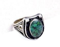 OLD Navajo Horseshoe Sterling Silver Green Turquoise Good Luck Size 6 1/2 Ring #Handmade #navajo #goodluck #horseshoe #ring #jewelry #greenturquoise