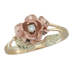 Black Hills Gold Diamond Accent Solitaire Rose Engagement Ring - Zales $329