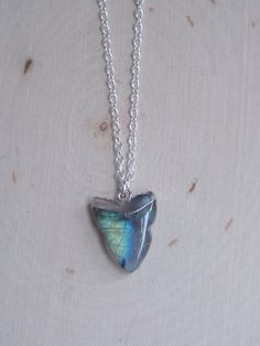 Labradorite Necklace on Sterling Silver Chain: Labradorite Pendant, Labradorite Tooth, Silver Dipped Labradorite, Labradorite Jewelry by MalieCreations on Etsy