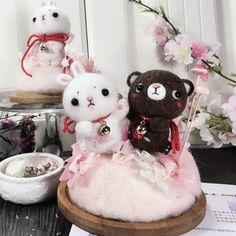 Handmade needle felted felting cute animal project bunny bear couples   Feltify