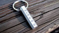 stamped hexagon bar keychain.  all 6 sides can have something stamped