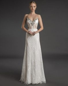 Chantilly lace fit-and-flare gown with narrow crystal straps, corset back, and sweetheart neckline embellished with mirror crystal appliqués.  Love by Pnina Tornai   Style: 14894 Lace Wedding Dress With Sleeves, Fit And Flare Wedding Dress, Dresses With Sleeves, Pnina Tornai Dresses, A Line Gown, Bridal Dresses, Satin Skirt, Chiffon Skirt, Gown Wedding