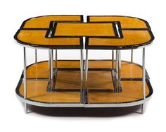 An Art Deco Maple and Chrome Sectional Coffee Table Height 20 1/2 inches