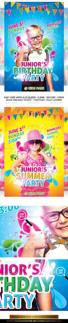 Kids Birthday Flyer  Party Events Print  And Template