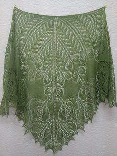 Tatiana knitting: Lovely shawl from Anna Ryabova Knitting Charts, Lace Knitting, Knitting Stitches, Knitting Patterns, Crochet Patterns, Knitted Shawls, Crochet Shawl, Knit Crochet, Lace Shawls