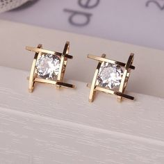 b3377b2722d7 Charming Crystals Square Stud Earrings  earringsforwomen