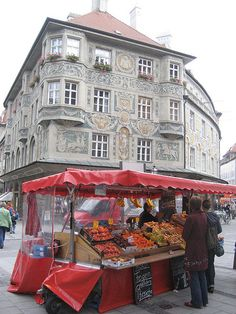 Fruit market stand in Old Town, Munich, Germany