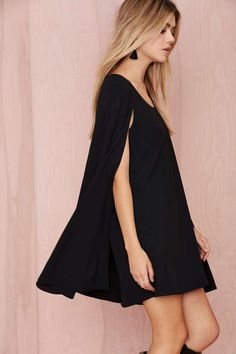 Nasty Gal Catherine Cape Dress - Dresses | Clothes | All | Going Out | Shift | Solid | LBD | Dresses | Party Perfect | LBD | All | The Sultry Siren | Dresses