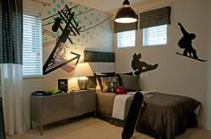 Cloverdale paint Summit, a fitting paint for a snowboard themed room