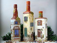 Мой прованский городок. Бутылки-светильники   Ярмарка Мастеров - ручная работа, handmade