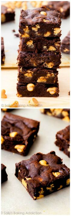 This recipe makes the fudgiest homemade brownies! Stuff them with peanut butter chips and prepare to be amazed.