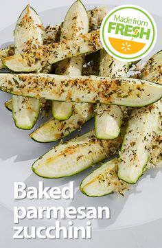 Fresh zucchini topped with a parmesan herb crust and baked until it's crisp yet tender. This is one of those foods that's so good you have to stop and close your eyes after a bite. Seriously delicious!
