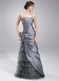 Prom Dresses - $186.99 - Sheath/Column Sweetheart Floor-Length Taffeta Tulle Prom Dress With Beading Sequins Bow(s) Cascading Ruffles (018004873) http://hochzeitstore.com/Sheath-Column-Sweetheart-Floor-length-Taffeta-Tulle-Prom-Dress-With-Beading-Sequins-Bow-S-Cascading-Ruffles-018004873-g4873