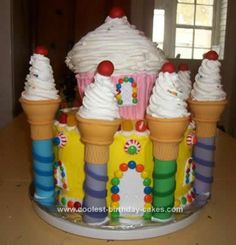 Homemade Castle Cake: I made this Candy Castle Cake for when my 2 youngest boys turned 2 and 4. I bought candy land plates and balloons to go with the cake.   The bottom layer