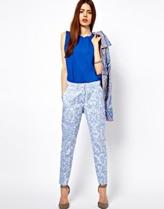 ASOS Trousers In Blue Floral Jacquard