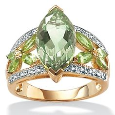 4.83 TCW Marquise-Cut Green Genuine Amethyst and Genuine PerI.D.ot Diamond Accent 18k Yellow Gold Over Sterling Silver Ring