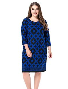 Chicwe Women's Plus Size Cashmere Touch Printed Shift Dress – Knee Length Work and Casual Dress Plus Size Short Dresses, Plus Size Outfits, Maternity Swimwear, Maternity Wear, Wardrobe Solutions, Easy Wear, Knee Length Dresses, Affordable Fashion, Plus Size Fashion