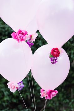 Combine artificial flowers with balloons for a gorgeous effect - perfect for weddings, showers, or a Valentine's Day bouquet! |