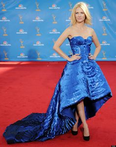 January Jones Atelier Versace Emmys 2010. I loved this electric blue number and the cone shaped bustier!