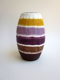 Purple Vase White Mustard Brown Grape by CarriageOakCottage, $22.00