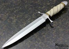 Buster Warenski Custom Knives Sole Authorship Engraved Fluted Mammoth Art Dagger - Buster Warenski custom knife - image 1
