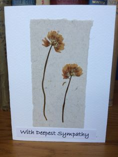 Handmade Sympathy Card Pressed Flower £4.00