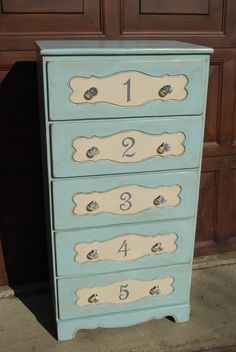Blue numbered chest - could be a cute idea for accent piece for child's room