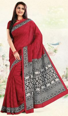 G3 Fashions Red Cotton Silk Printed Party Wear Saree Product Code : G3-LS10512 Price : INR RS 907