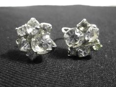 Vintage Rhinestone Screw-back Earrings Flower Design Unmarked Est. 1950s by LAmourDAntique Newly listed Vintage Fashion