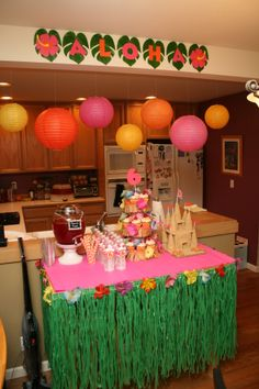 Dessert and Drink Table for Hawaiian Birthday Party
