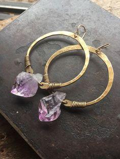 Hoop Earrings Raw Amethyst Earrings Healing Crystal Metaphysical Jewelry Rustic Earrings DanielleRoseBean Raw Gemstone