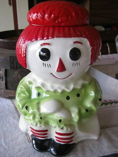 McCOY Pottery Vintage  Cookie Jar  RAGGEDY ANN Doll  151 USA Ceramic Good Condition Rare. $45.00, via Etsy.